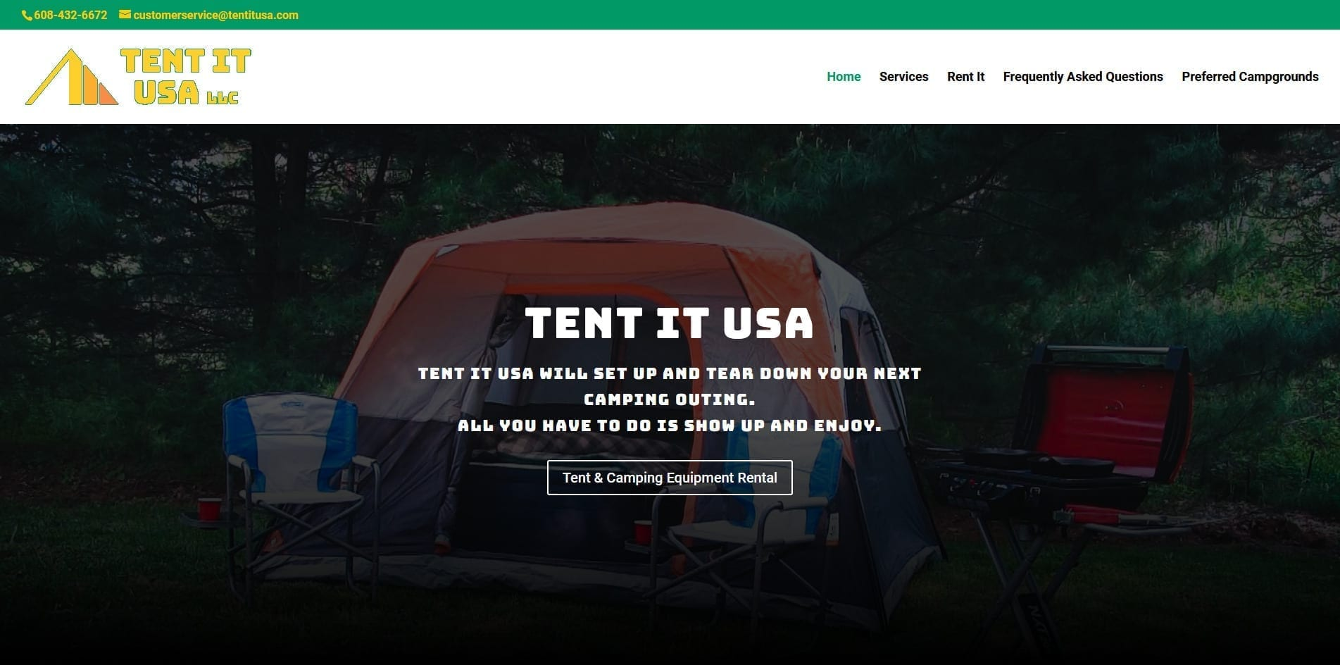 Screenshot of Tent It USA LLC website design - They offer camping equipment which you rent and they setup and break down.