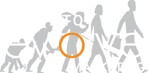 Right to Evolve walking to evolve logo.