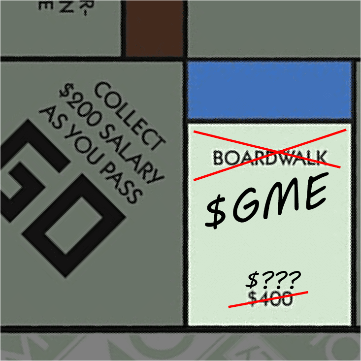 Boardwalk tile from Monopoly, crossed off and replaced with $GME